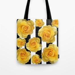 Yellow Roses on Black & White Stripes Tote Bag