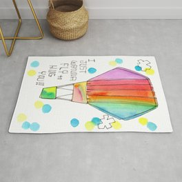 Just Wanna Fly hot air balloon illustration nursery decor kids room watercolor painting Rug