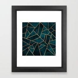Deep Teal Stone Framed Art Print
