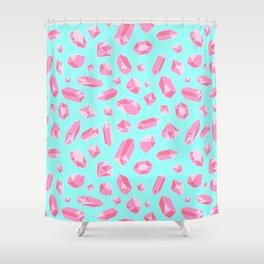 Rose Quartz Pattern on Blue Shower Curtain