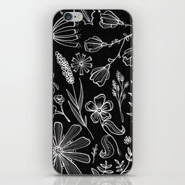 Floral Pattern II Black and White iPhone Skin