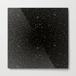 Faux gold glitter and sparkles on black texture Metal Print