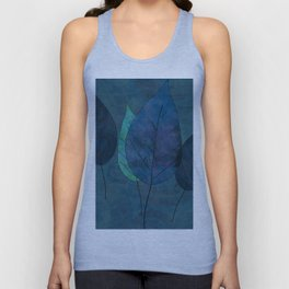 Leaves in blue and green Unisex Tank Top