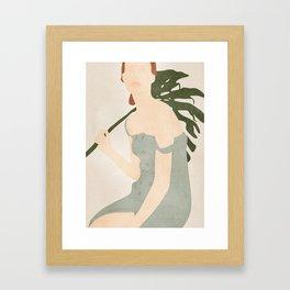 Holding the Monstera Leaf Framed Art Print