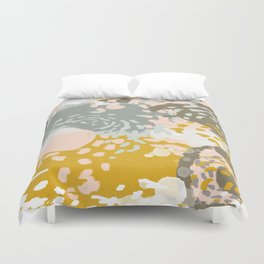 Hutton - Modern abstract painting for home decor and cell phone cases in gold grey mint white Duvet Cover