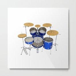 Blue Drum Kit Metal Print