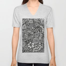Peony Fascination Unisex V-Neck