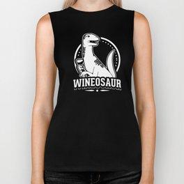 Funny Wineosaur Wine Lover Dinosaurs Dino Lover Design Biker Tank