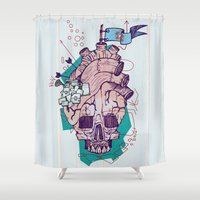 gore Shower Curtains featuring Skullheart by manuvila