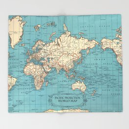 Pacific Projection World Map Throw Blanket