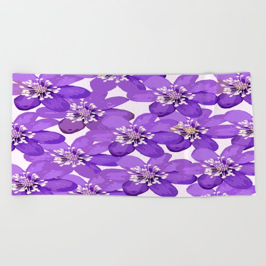 Purple wildflowers on a white background - spring atmosphere Beach Towel