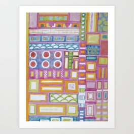 Filled Pink Grid Art Print