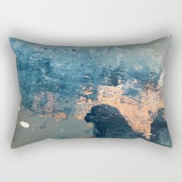 Wander [2]: a vibrant, colorful, abstract in blues, pink, white, and gold Rectangular Pillow