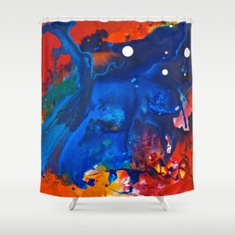 Humo, Vibrant wet on wet abstract, NYC artist Shower Curtain