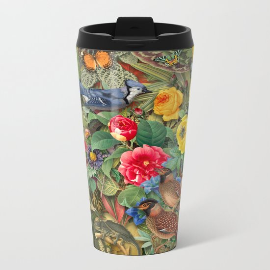 Birds Insects Plants Metal Travel Mug