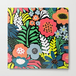 Abstract Neon Florals Red Blue Black Yellow Green Pattern Metal Print
