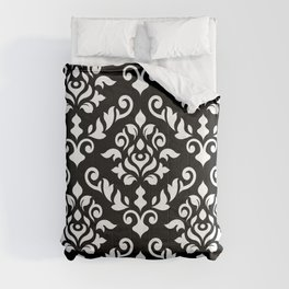 Damask Baroque Pattern White on Black Comforters
