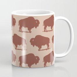 Buffalo Bison Pattern Brown and Beige Coffee Mug