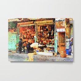 Aleppo: a man with packages passes in front of a shop Metal Print