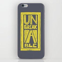 Unbreakable - typography Lino cut iPhone Skin