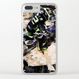 Wild Ride - Motocross Rider Clear iPhone Case