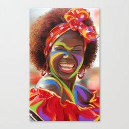 Life's a Carnival (Carnaval de Barranquilla) - Negrita Puloy Impressionism - Magical Realism Canvas Print