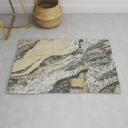 Vintage chic black gold yellow abstract marble Rug