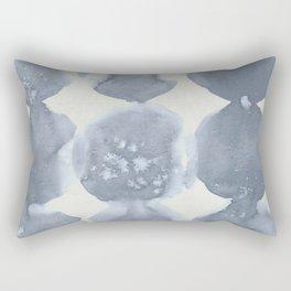 Shibori Wabi Sabi Indigo Blue on Lunar Gray Rectangular Pillow