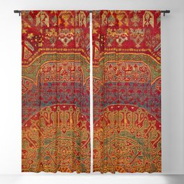 Bohemian Medallion VI // 15th Century Old Distressed Red Green Blue Coloful Ornate Rug Pattern Blackout Curtain