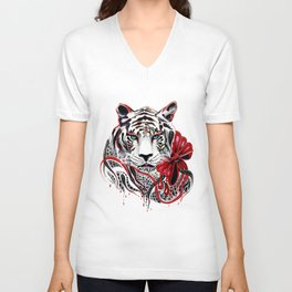 White Tiger Unisex V-Neck