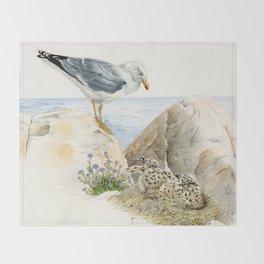 Seagull  - nesting bird on the Ligurian coast Throw Blanket