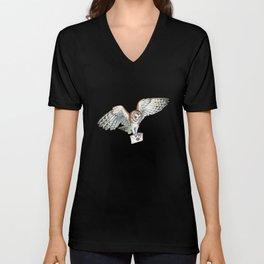 Mail Owl (Barn Owl)   Unisex V-Neck