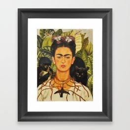 Frida Kahlo Self-Portrait Thorn Necklace and Hummingbird Framed Art Print