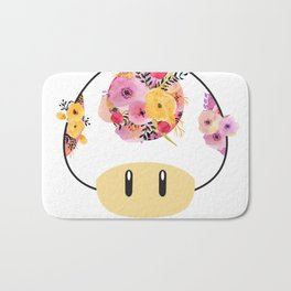 Toad in Bloom - White Background Bath Mat