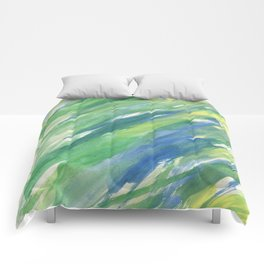 Blue green yellow watercolor hand painted brushstrokes Comforters