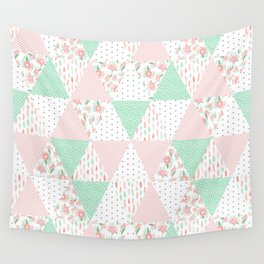 Pastel mint coral pink floral quilt triangle pattern basic minimal charlotte winter prints Wall Tapestry