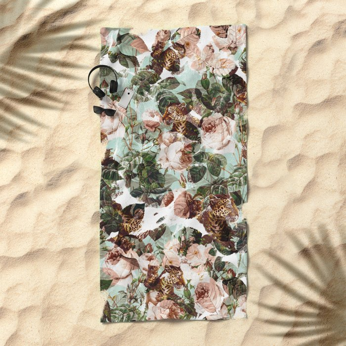 Floral and Leopard Pattern Beach Towel
