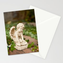 Small angel statue kneel Stationery Cards
