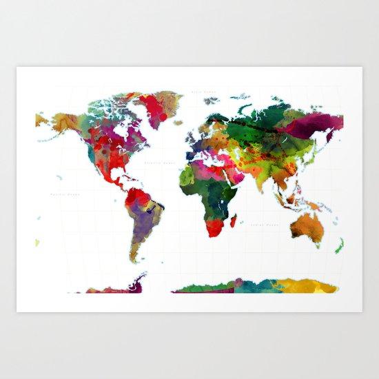 World Map - Watercolor Art Print