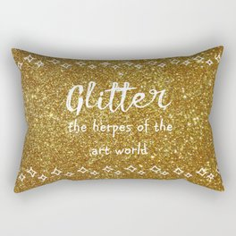 Quirky funny glitter - gold Rectangular Pillow