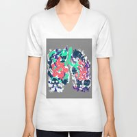 lungs V-neck T-shirts featuring Lungs by LAM Hamilton