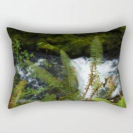 A River Races Beyond Dancing Ferns in Oregon Woods Rectangular Pillow
