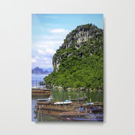Limestone Mountain with Red Boats in the Sea in front of It at Halong Bay, Vietnam Metal Print