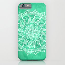 Chic Teal Boho Mandala iPhone Case