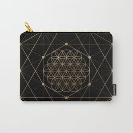 Flower of Life Black and Gold Carry-All Pouch