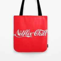netflix Tote Bags featuring Netflix and chill cola by BomDesignz