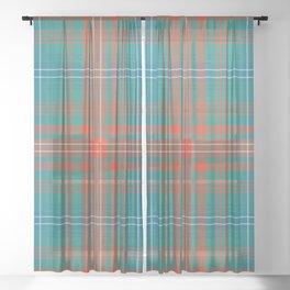 Plaid Clan Wilson Tartan Orange Turquoise Pattern Sheer Curtain