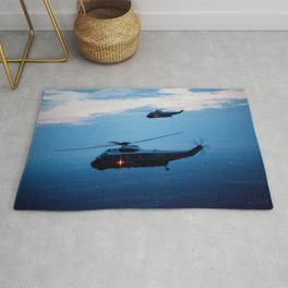 Support Helicopters Fly at Dusk Rug