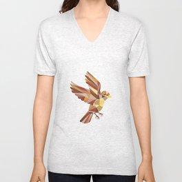 Sparrow Flying Low Polygon Unisex V-Neck