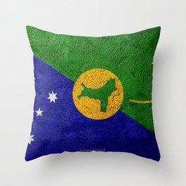 Flag of Christmas Island concrete texture stone background Christmas Island flag Asia Christmas Isla Throw Pillow